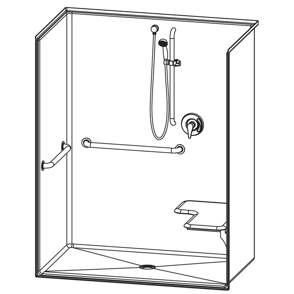 Aquatic Bathroom Shower Enclosures Bypass Accessible White | Grove ...